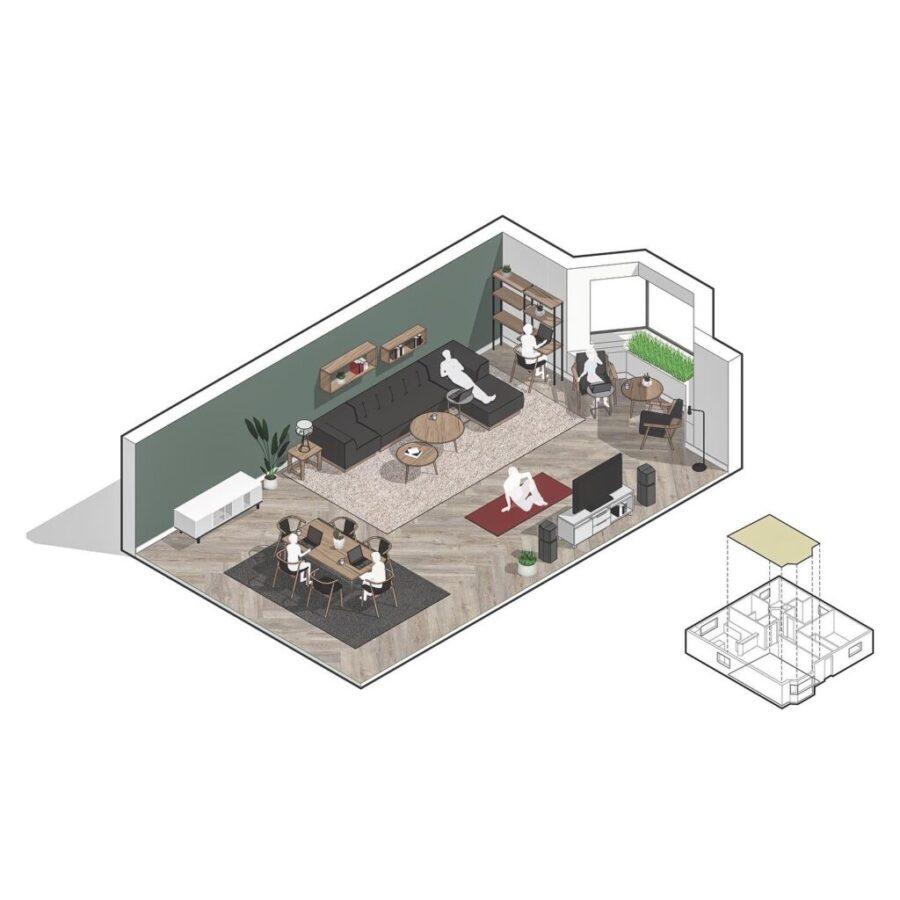 Living-room as Makeshift Office