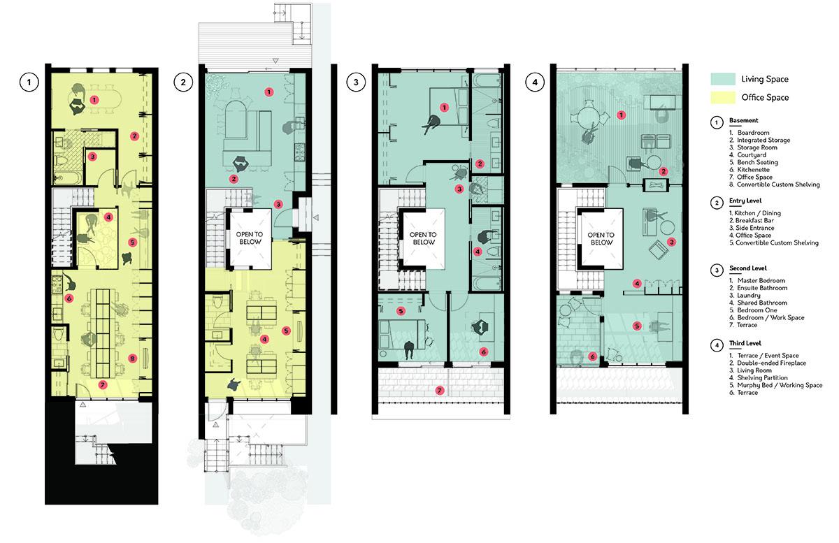 OPTION 1 FLOOR PLANS: BASEMENT TO 3RD FLOOR