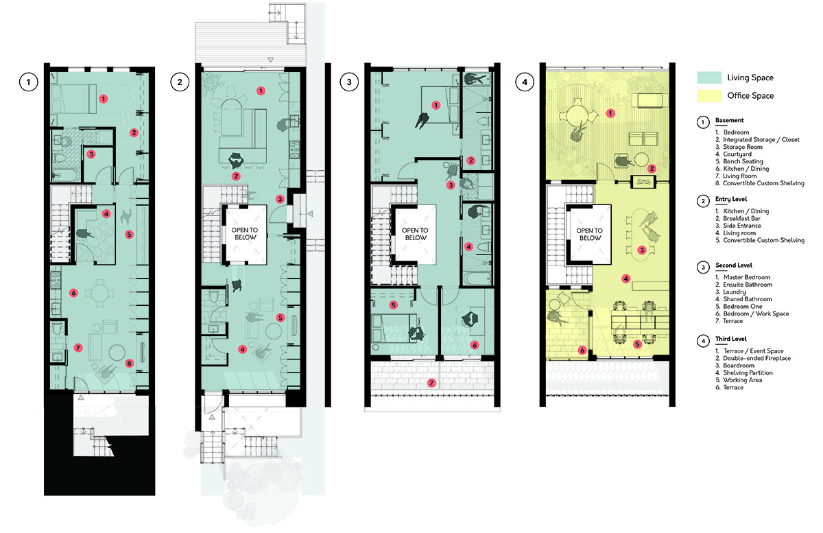 OPTION 2 FLOOR PLANS: BASEMENT TO 3RD FLOOR